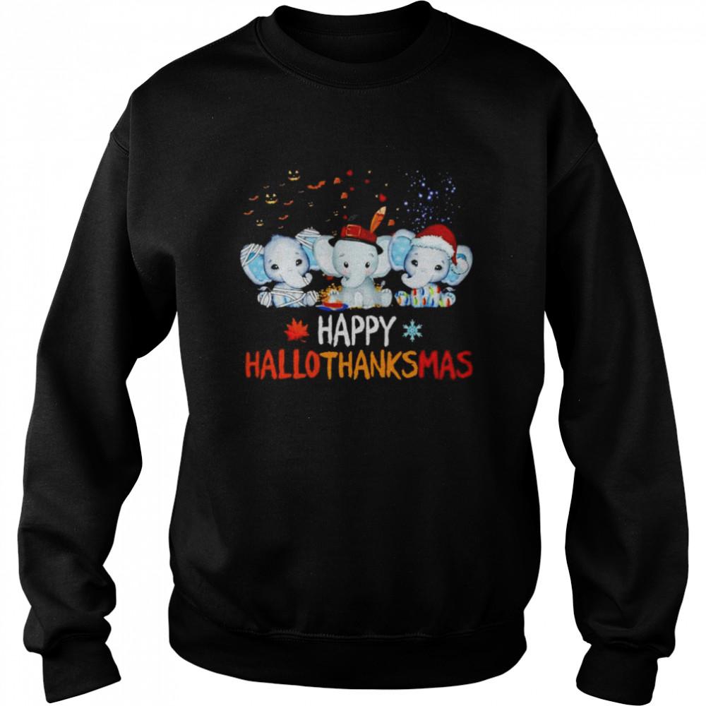 Premium elephant happy Hallothanksmas Halloween Thanksgiving Xmas shirt Unisex Sweatshirt