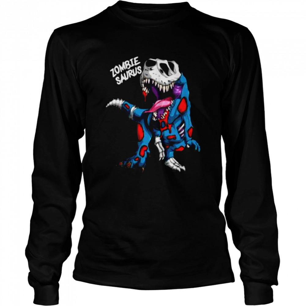 Zombie Saurus Halloween Costume Zombie Dinosaur T Rex Boys T- Long Sleeved T-shirt