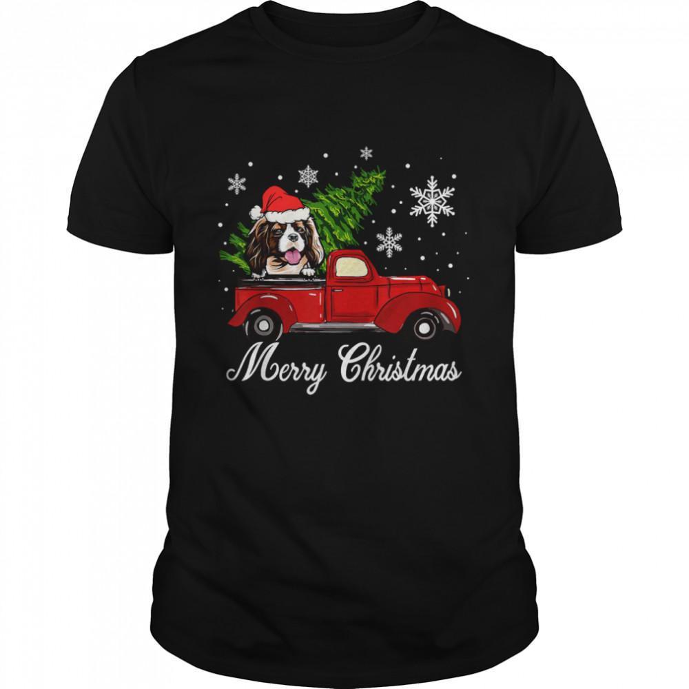 Cavalier King Charles Spaniel Dog Riding Red Truck Christmas T-Shirt