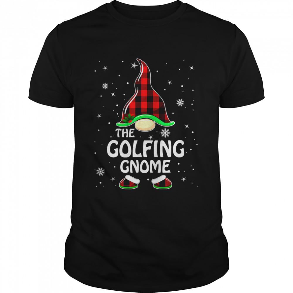 Golfing Gnome Buffalo Plaid Matching Family Christmas Pajama T-Shirt