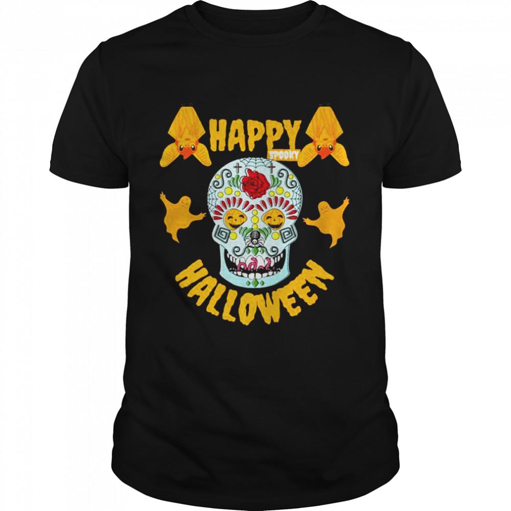 Happy Spooky Halloween Pumpkin Eyes Skeleton Bats & Ghosts Shirt
