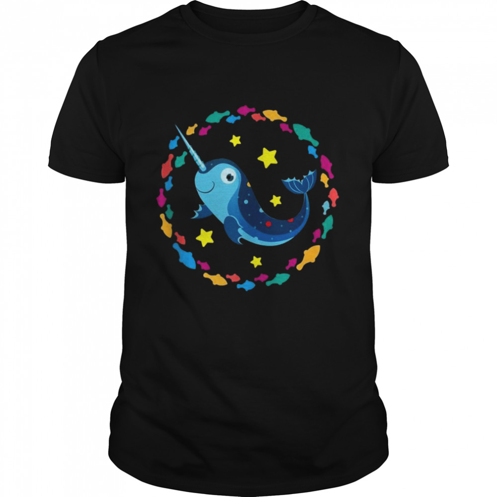 Small happy narwhal surrounded by small fishes Shirt