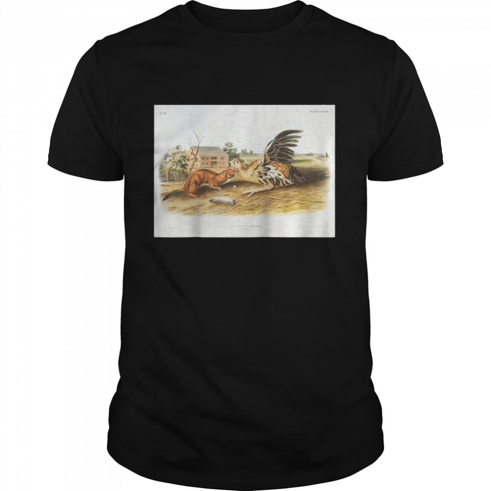 Vintage Tawny Weasel Animal Illustration & Shirt